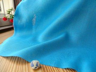 W巾さらっと薄手リネン100%・ターコイズブルー