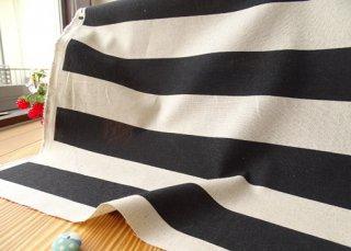 5cmマリンボーダー綿麻キャンバス・生成×ブラック