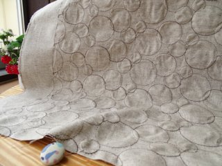 リング刺繍の綿麻キャンバス