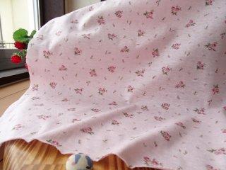 優しいブーケのさらさらTシャツ地・・ピンク×ローズレッド