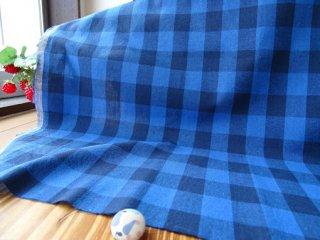 先染めワッシャーコットンリネン・2.5�×2�チェック・藍ブルー×ネービー