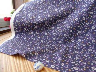 バリリーフの小花柄柔らかブロード・アンティークパープル