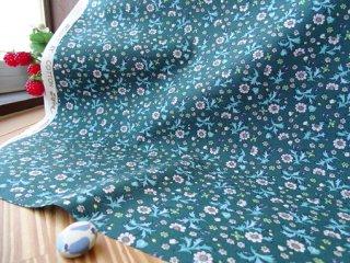 バリリーフの小花柄柔らかブロード・深ブルーグリーン