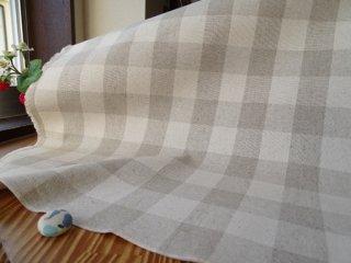 ナチュラルチェックの綿麻キャンバス・2.8センチ