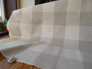 ナチュラルチェックの綿麻キャンバス・6.2センチ