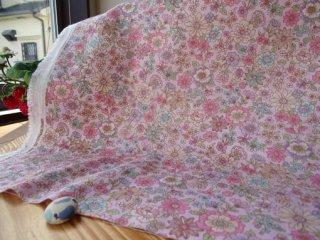 優しい花柄ダブルガーゼ 2.5�小花・ピンク×ローズピンク