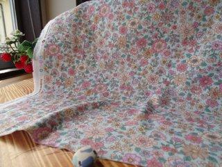 優しい花柄ダブルガーゼ 2.5�小花・ミント×ローズピンク