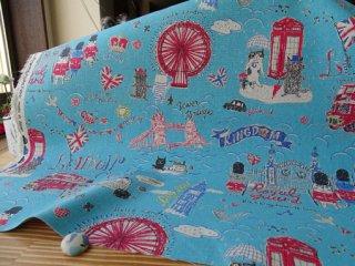 ロンドンキャットの綿麻キャンバス・ターコイズブルー