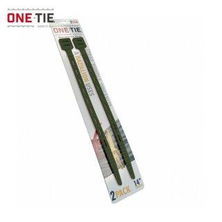 ONE-TIE 14inch (36cm) 2本パック ダークグリーン 何度も使えるギアラッピングツール 結束バンド