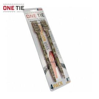 ONE-TIE 8inch (20cm) 4本パック カモ 何度も使えるギアラッピングツール 結束バンド