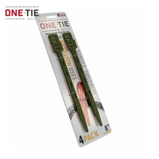 ONE-TIE 8inch (20cm) 4本パック ダークグリーン 何度も使えるギアラッピングツール 結束バンド