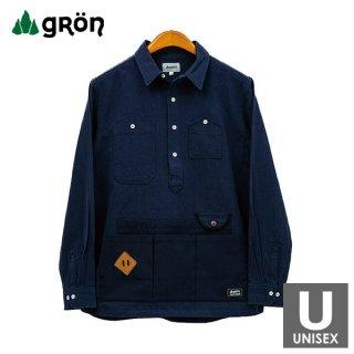 gron(グローン) 綿麻クラフトマンシャツ メンズ・レディース エプロン型の長袖Tシャツ