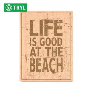 TRYL WOOD STICKER(ウッドステッカー) life is good beach 木材を使用した自然素材のステッカー