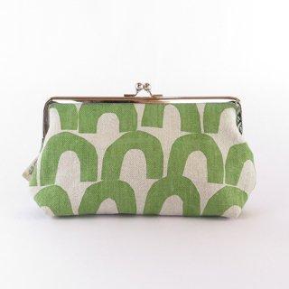 woo textile ハンドプリントポーチ(がま口)