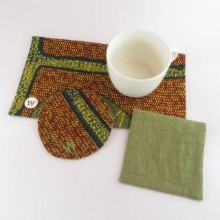 World&Woo アフリカ布のコースターとおやつマット