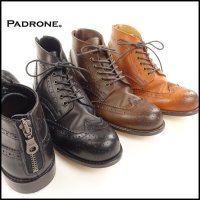 PADRONE(パドローネ)<br>WING TIP BOOTS with BACK ZIP(ウイングチップバックジップブーツ)