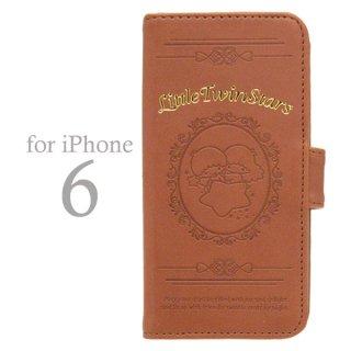 キキララ フリップケース (手帳型 アイフォンケース iPhone6/4.7インチ専用) ブラウン (リトルツインスターズ)