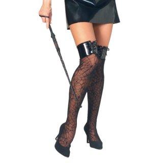 店内全品30%OFF ログインで ハロウィンコスプレ大人女性用ストッキングニーハイソックススパイダーウェブ仮装 82686060592