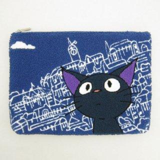 店内全品30%OFF ログインで ジジ 相良刺繍ポーチ (フラットポーチ/小物入れ) コリコの街のジジ (となりのトトロ) スタジオジブリ