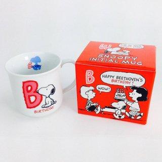 店内セール開催中!10%オフ対象商品ピーナッツ スヌーピー イニシャルマグ B 日本製 食器 グッズ  (MCOR)