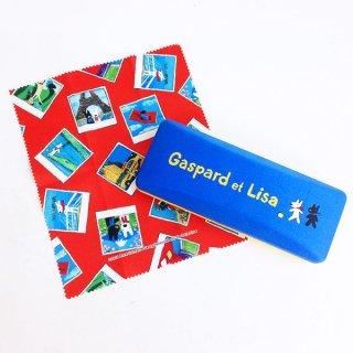 店内セール開催中!20%オフ対象商品 リサとガスパール メガネケース ロゴシリーズ メガネクロス付き ブルー グッズ