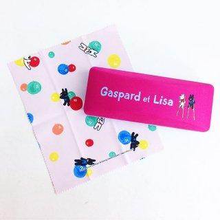 店内セール開催中!20%オフ対象商品 リサとガスパール メガネケース ロゴシリーズ メガネクロス付き ピンク グッズ