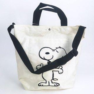 店内セール開催中!30%オフ対象商品 PEANUTS スヌーピー ショルダートート 立体足付き バッグ ホワイト グッズ