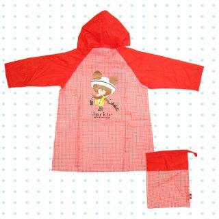 店内セール開催中!10%オフ対象商品 在庫限り:子供レインコート 【雨合羽・かっぱ】 100cm レッド ギンガム くまのがっこう 雨具