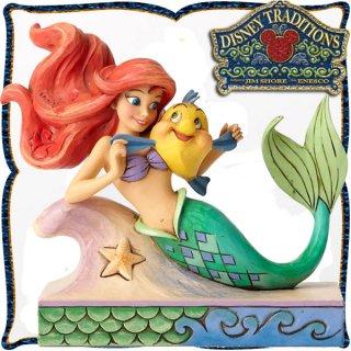 ディズニー プリンセス 木彫り調フィギュア アリエル (リトルマーメイド) 「Ariel with Flounder」 フランダーと一緒