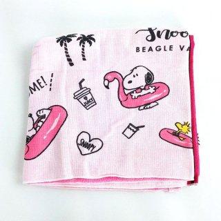 店内セール開催中!10%オフ対象商品PEANUTS スヌーピー バスタオル フラミンゴ ピンク