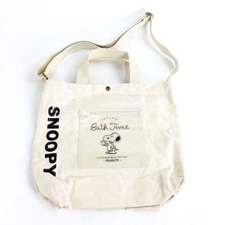 店内セール開催中!50%オフ対象商品PEANUTS スヌーピー ショルダーバッグ キャンバス クリアポケット バスタイム  (MCOR)