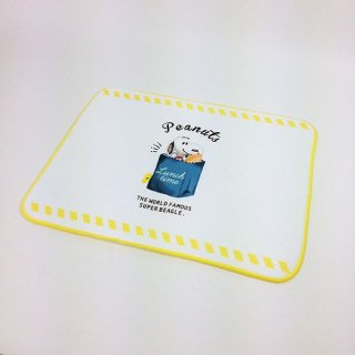 店内セール開催中!10%オフ対象商品スヌーピー ミズキリFUKIN ランチタイム シングル ミズキリ 布巾 キッチンマット 黄色 グッズ