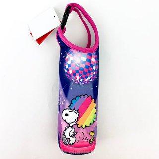 店内セール開催中!10%オフ対象商品!SNOOPY スヌーピー ペットボトルホルダー ダンス パーティーレインボーSN ボトルカバー  紺 グッズ(MCOR)