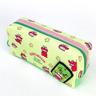 クレヨンしんちゃん チョコビ Wファスナーペンポーチ チラシ/チョコビ ペンポーチ ペンケース 筆箱 緑 グッズ