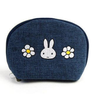 <img class='new_mark_img1' src='https://img.shop-pro.jp/img/new/icons15.gif' style='border:none;display:inline;margin:0px;padding:0px;width:auto;' />miffy ミッフィー ラウンドポーチ デニム風flower ミッフィー ポーチ デニム 小物入れ グッズ   (MCOR)