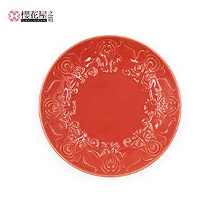 器「花鳥風月」小皿(レッド)15cm