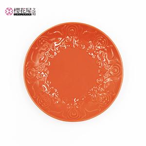 器「花鳥風月」小皿(オレンジ):15cm