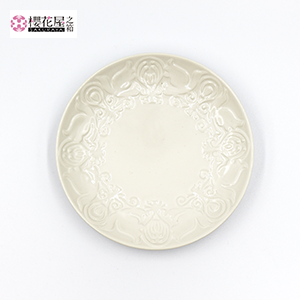 器「花鳥風月」小皿(キヨクリーム):15cm