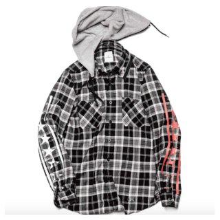 【uniform experiment】DETACHABLE HOOD REGULAR COLLAR FLANNEL CHECK SHIRT