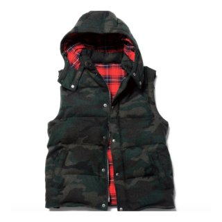 【sophnet.】CAMOUFLAGE MELTON HOODED DOWN VEST