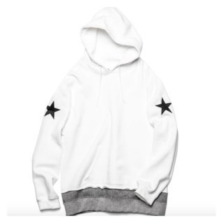 【uniform experiment】STAR KNIT LAYERED PULL OVER HOODY