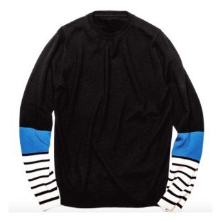 【uniform experiment】SLEEVE BORDER CREW NECK KNIT