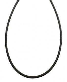 シルバー925金具 日本製 本革 牛 レザーコード 革紐 幅約2.8mm [ブラック] 40cm-80cm