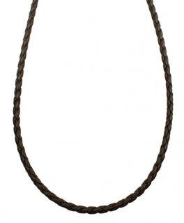 シルバー925金具 日本製 本革 牛 レザーコード 4本編み革紐 幅約3.5mm [ダークブラウン] 40cm-80cm