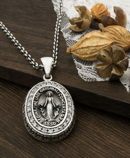 聖母マリア パヴェジルコニア&クロス 不思議のメダイ シルバーペンダントトップ