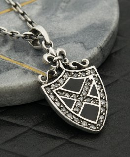 ブラックオニキス×ジルコニア エンブレム 百合の紋章 シルバーペンダントトップ