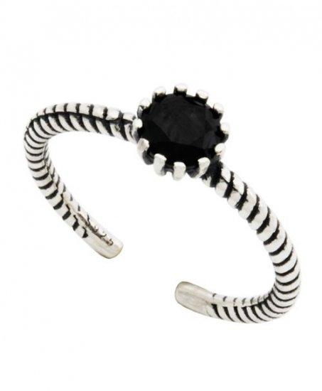 ブラックジルコニア ロープデザイン フリーサイズシルバーリング