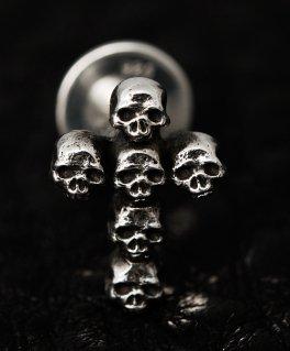 [SKURANGER / スカレンジャー] S-Pi-03 Mini skull cross シルバーピアス