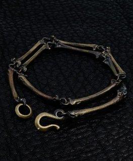 [SKURANGER / スカレンジャー] S-Br-03 Bone Bracelet Brass 2重巻 ブラスブレスレット