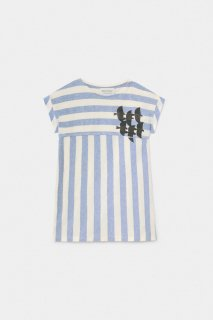 Flying Birds Striped T-shir Dress